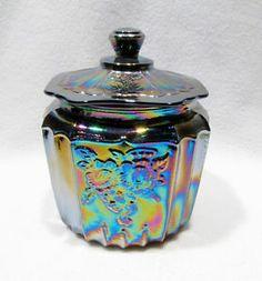 Vintage Carnival Glass Biscuit Cookie Jar