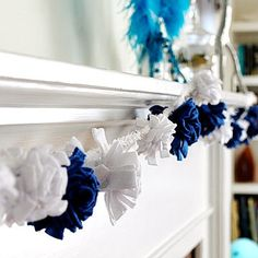 "Use the traditional colors of Hanukkah, blue and white, to make this festive garland.                 What you'll need: blue and white fleece, scissors, pins, thread, yarn or rope                 Make it: Cut the blue and white fleece into similar sized strips, about 2"" thick and 12"" long. Then, make small cuts all the way up the long-side of the fleece strips, leaving about a centimeter or less in the middle uncut. Starting from one of the ends, tightly roll the fleece (like a sushi roll)…"