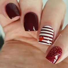 Easy Red, Stripe and Heart Nail Art Design
