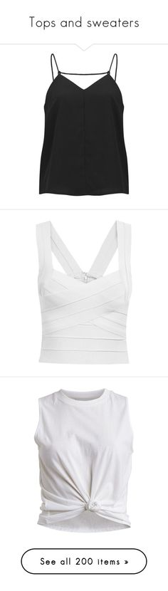 """""""Tops and sweaters"""" by mari-marishka ❤ liked on Polyvore featuring tops, tank tops, shirts, black, black tank top, v neck tank top, black tank, camisoles & tank tops, black v neck tank and crop tops"""