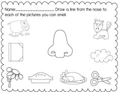 math worksheet : sense of hearing  worksheets and articles : Senses Worksheets For Kindergarten