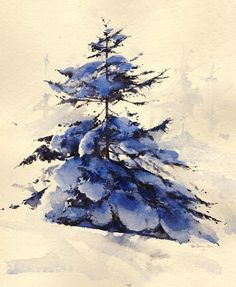 Snowy pine, an original watercolour painting by Rob Piercy