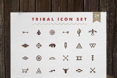 Our #Tribal #IconSet comes with 24 unique handcrafted #vector #illustrations inspired by Native American symbolism and culture.  From simple cave drawn illustrations to more complex symbols used in Southwestern design, these diverse icons can be used for a number of different creative projects.  Can be purchased for $15 here >> https://creativemarket.com/skyboxcreative/216733-Tribal-Icon-Set
