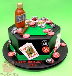 Birthday Poker Table Cake with chips and cards
