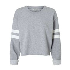 Grey Stripe Sleeve Sweatshirt (€30) ❤ liked on Polyvore featuring tops, hoodies, sweatshirts, striped tops, grey top, stripe top, grey sweatshirt and gray top