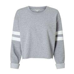 Grey Stripe Sleeve Sweatshirt (€30) ❤ liked on Polyvore featuring tops, hoodies, sweatshirts, striped tops, grey top, stripe top, grey sweatshirt and gray top