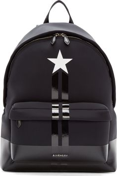 Givenchy Black Neoprene & Leather Star Backpack