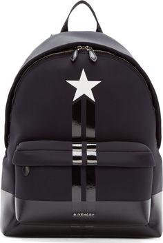Givenchy Black Neoprene & Leather Star Backpack💞 V. Cute Mini Backpacks, Stylish Backpacks, Cool Backpacks For Men, Backpack Bags, Leather Backpack, Pouch Bag, Black Backpack, Givenchy Backpack, Leather Bag