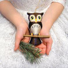 Owl Ornament brown Christmas tree decor от LeatherBagsBackpacks