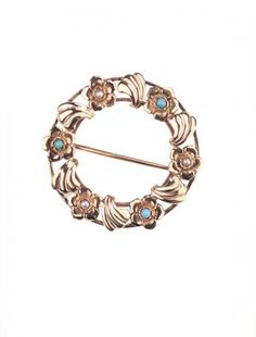 Gold, Turquoise & Pearl Brooch - Available at Onyx Goldsmiths