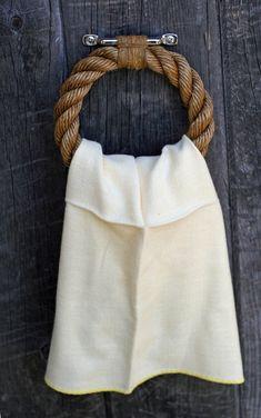 Nautical rope towel ring.