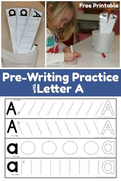 Simple preschool prewriting practice with Letter A! This free printable teaches letter formation and beginning writing skills to preschoolers. Preschool Learning Activities, Preschool Curriculum, Preschool Printables, Writing Activities, Educational Activities, Teaching Resources, Homeschooling, Preschool Writing, Preschool Letters