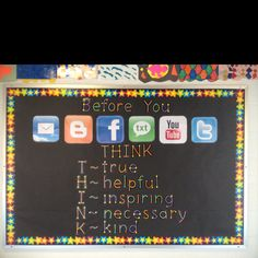 THINK bulletin board I made at my upper elementary school this week.  I got the idea from technologyrocksse...