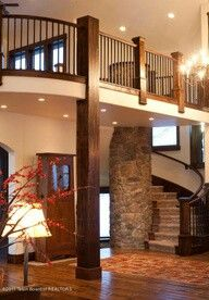 More ideas for stairs with an open floor plan. Loving the brick pillar and dark wash wood. Style At Home, Future House, My House, Balustrades, Sweet Home, House Goals, Humble Abode, Architecture, My Dream Home
