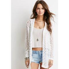 Forever 21 Women's  Open-Knit Hooded Cardigan (76 VEF) ❤ liked on Polyvore featuring tops, cardigans, outfits, open knit hooded cardigan, white long sleeve top, white top, open knit cardigan and full length white slip