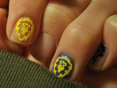 Nail inspiration for the other half. ;) // World of Warcraft Alliance Nail Art Decals