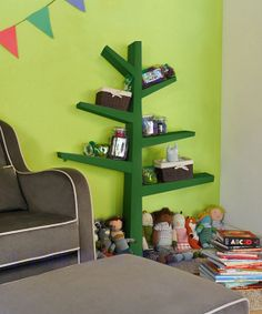 Green Spruce Tree Bookcase, this is so fun! I want it for the baby room Tree Bookcase, Bookshelves Built In, Skateboard Shelves, Bookcases For Sale, Spruce Tree, Black And White Wallpaper, Playroom Organization, White Shelves, New Room
