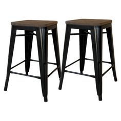 """Threshold™ Hampden 24"""" Industrial Counterstool with Wood Top (Set of 2) $119.99"""