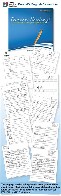 I love teaching my kids cursive writing! Here are 45 pages of cursive writing worksheets that take students from the basic alphabet to writing larger passages. You'll be able to guide students' hands as they learn the loops and curlicues of the cursive alphabet, how to sign their name, or write a pen pal letter.