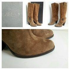 New ALDO Suede Boots - Made in Italy Purchased in 2005. Never worn. Suede outside - Leather inside - 4 inch heel - 18 inches from floor to top. Made in Italy ALDO Shoes