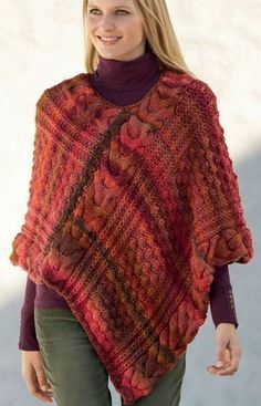 Free Knitting Pattern for Azteca Poncho - This cabled poncho by Texyarns looks great in multi-color yarn.