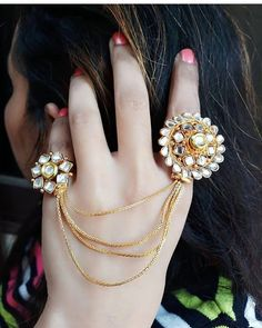 bridal jewelry for the radiant bride Tikka Jewelry, Indian Jewelry Sets, Indian Wedding Jewelry, Hand Jewelry, Bridal Jewelry, Jewelery, Bridal Bangles, Ethnic Jewelry, Stylish Rings