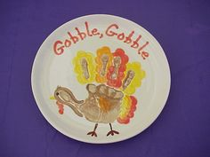 hand print turkey plate
