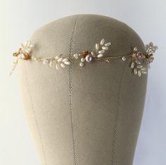 BELLE Bridal Crown Wedding Halo Bridal Hair by LittleWillowandCo Belle Bridal, Bridal Crown, Crystal Beads, Swarovski Crystals, Bohemian Wedding Hair, Wedding Headdress, Bridal Hair Vine, Bridal Hair Accessories, Hair Pins