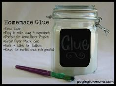 Homemade Glue:      1 cup Cornflour or Cornstarch     1 tablespoon of white vinegar     2 teaspoons of Salt     4 cups of Hot Water