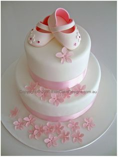 Baby Girl Cake - adorable sugarpaste shoes