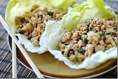 Asian Lettuce Cups  Calories: 182  Fat: 7.5 g  Carbs: 9.7 g  Fiber: 0.6 g  Protein: 19.1 g  Old Points: 4.1 pts  Points+: 5 pts