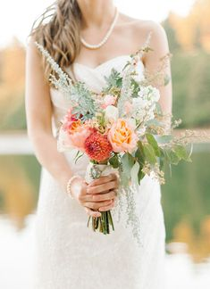 love this unpredictable bouquet! photo by Daniel Cruz styling by Collette Budd http://ruffledblog.com/romantic-lake-gregory-wedding #flowers #bouquets #wedding