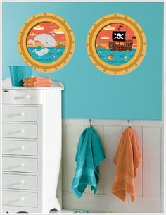 Ocean Sea Decor----portholes stickers with some scene painting. None cartoon