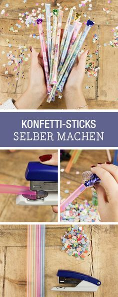 Make your party decorations yourself: DIY for confetti sticks / diy par . - Make your own party decorations yourself: DIY for confetti sticks / diy party inspiration: craft co - Craft Stick Crafts, Fun Crafts, Diy And Crafts, Craft Party, Diy Silvester, Party Silvester, Diy For Kids, Crafts For Kids, Craft Kids