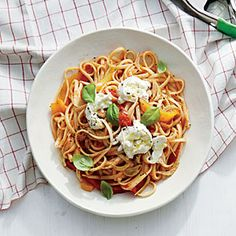 Linguine with Sweet Pepper Sauce | CookingLight.com #myplate  #dairy #veggies