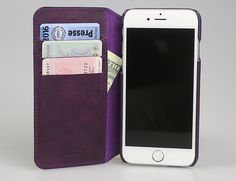 """iPhone 6 Plus / 6S Plus  Walletcase Vintage Lila Case with Card Slots Anticcase """"Pan Book"""" Handmade Leather Etui - PB-G7-IP6P"""