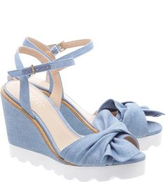 Sandália Plataforma Laço Jeans