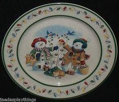 "Longaberger Christmas 1999 Flurry Snowball Snowman 9"" Plate Free US SHIP   eBay $24.99"
