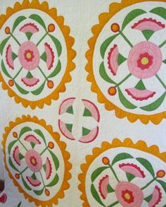 Antique Tulip Applique Quilt