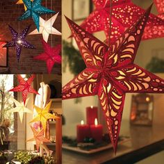 Shiny Star Paper Lampshade Lanterns Flower Party Decor Craft For Wedding Decoration Christmas Halloween Festive Supplies Paper Star Lights, Paper Star Lanterns, Paper Stars, Fall Lanterns, Christmas Lanterns, Lanterns Decor, Christmas Star, Christmas Paper, Christmas Tree Ornaments
