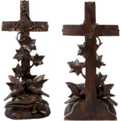 Superb Antique Black Forest Hand Carved Crucifix Holy Font with 2 Birds, Bluebird?