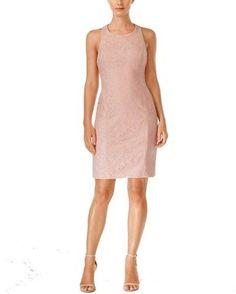 Calvin Klein Womens Scuba Lace Overlay Cocktail Dress