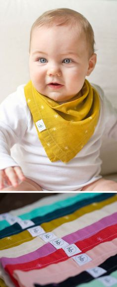 Ollie Bandana Drool Bib | Hemming Birds Boutique. Soft, absorbent, adorable. Girl, boy, and gender neutral. Great unique gifts for those that have everything!