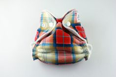 Plaid Cloth Diaper  Newborn Small Fitted Cloth by BICKLEBEAR