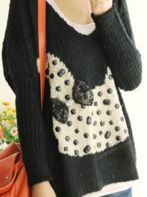 Black Rabbit Pattern V Neck Casual Loose Knitted Sweater