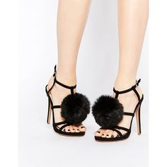 Boohoo Heeled Sandals With Large Pom Pom ($40) ❤ liked on Polyvore featuring shoes, sandals, heeled sandals and pom pom shoes