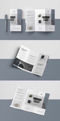 Layout Minimal Trifold Brochure Types Of La Brochure Indesign, Brochure Design Layouts, Template Brochure, Layout Design, Brochure Trifold, Brochures, Product Brochure, Tri Fold Brochure Design, Flyer Template