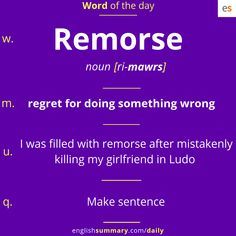 Remorse Meaning and Examples in English Advanced English Vocabulary, Learn English Grammar, English Writing Skills, English Idioms, English Phrases, Learn English Words, English Language Learning, English Lessons, Slang English