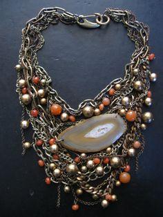 Statement Bib Necklace  /Tangled Brass Copper /128