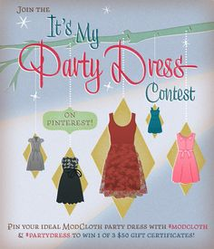 Win one of three ModCloth gift certificates for doing something you likely already do on a daily basis — shopping!    From 12/3 at 11 a.m. PT until 12/7 at 11:59 p.m. PT, pin your fave ModCloth holiday dresses to any of your existing Pinterest boards. Include the hashtags #modcloth & #partydress in the caption of each pin, and your picks will be entered for a chance to win! See the blog post for full details: http://mod.com/UkLZbJ